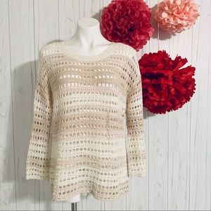 Gap Crochet Bell Sweater Neutral Stripe